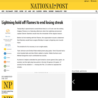 Lightning hold off Flames to end losing streak - National Post