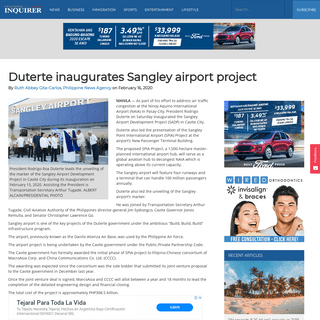 ArchiveBay.com - www.canadianinquirer.net/2020/02/16/duterte-inaugurates-sangley-airport-project/ - Duterte inaugurates Sangley airport project - Philippine Canadian Inquirer