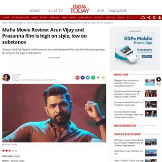 ArchiveBay.com - www.indiatoday.in/movies/regional-cinema/story/mafia-movie-review-arun-vijay-and-prasanna-film-is-high-on-style-low-on-substance-1648662-2020-02-21 - Mafia Movie Review- Arun Vijay and Prasanna film is high on style, low on substance - Movies News