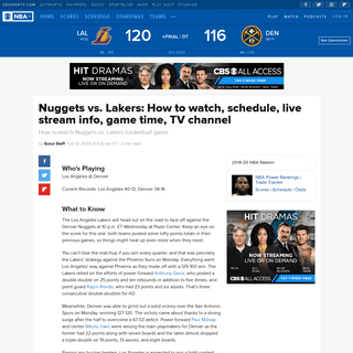 ArchiveBay.com - www.cbssports.com/nba/news/nuggets-vs-lakers-how-to-watch-schedule-live-stream-info-game-time-tv-channel/ - Nuggets vs. Lakers- How to watch, schedule, live stream info, game time, TV channel - CBSSports.com