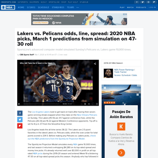 Lakers vs. Pelicans odds, line, spread- 2020 NBA picks, March 1 predictions from simulation on 47-30 roll - CBSSports.com
