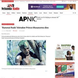 ArchiveBay.com - nehandaradio.com/2020/02/15/runonzi-rudo-hitmaker-prince-musarurwa-dies/ - 'Runonzi Rudo' hitmaker Prince Musarurwa dies – Nehanda Radio