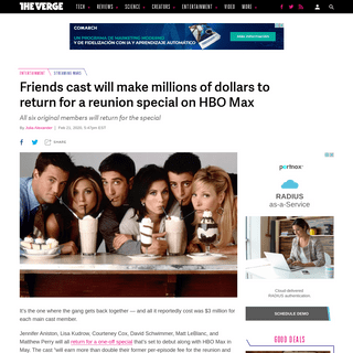 ArchiveBay.com - www.theverge.com/2020/2/21/21147791/friends-cast-special-hbo-max-one-time-streaming-date-may-2020 - Friends cast will make millions of dollars to return for a reunion special on HBO Max - The Verge