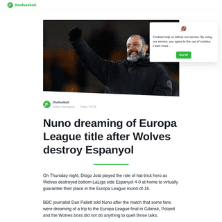 Nuno dreaming of Europa League title after Wolves destroy Espanyol