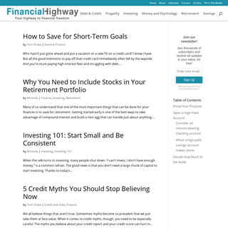 Financial Highway - Personal finance blog discussing investments, savings, insurance and financial planning ideas to grow wealth