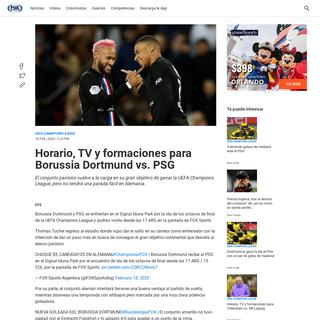 Horario, TV y formaciones para Borussia Dortmund vs. PSG