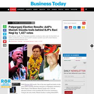 Patparganj Election Results- AAP's Manish Sisodia trails behind BJP's Ravi Negi by 1,427 votes