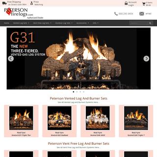 Peterson Gas Logs - Real Fyre Logs - Peterson Vented Gas Logs - Peterson Vent Free Gas Logs - Peterson Fire Logs