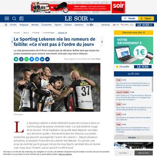 Le Sporting Lokeren nie les rumeurs de faillite- «Ce n'est pas à l'ordre du jour» - Le Soir