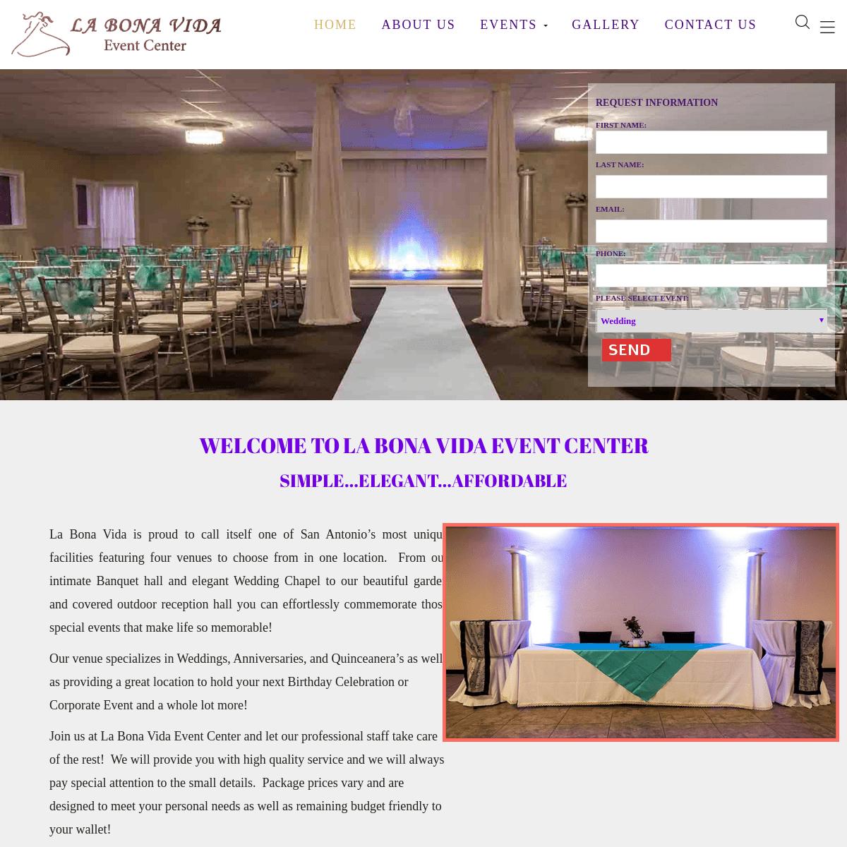 La bona Vida Event center – Events Management