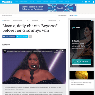 Lizzo quietly chants 'Beyoncé' before her Grammys win
