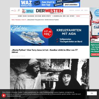 """""""Monty Python"""" Terry Jones ist tot – Komiker stirbt mit 77 Jahren - derwesten.de"""