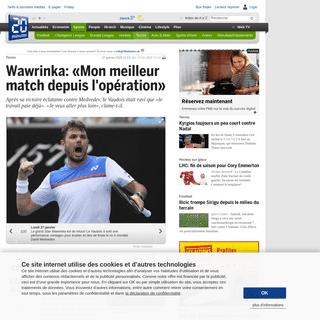 20 minutes - Wawrinka- «Mon meilleur match depuis l'opération» - Tennis