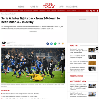 ArchiveBay.com - www.indiatoday.in/sports/football/story/inter-top-series-a-comeback-win-over-ac-milan-2-0-stefan-de-vrij-1644841-2020-02-10 - Serie A- Inter fights back from 2-0 down to beat Milan 4-2 in derby - Sports News