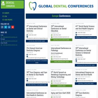 Dental Conferences - Dentist Conferences - Dental CME Conferences - USA - Europe - Asia - Australia- 2018 - 2019 - Conferenceser