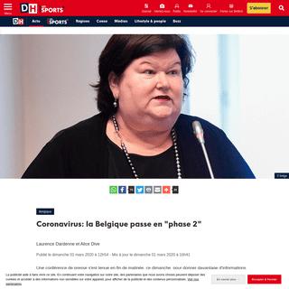 Coronavirus- la Belgique passe en -phase 2- - DH Les Sports+