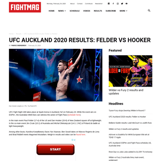 UFC Auckland 2020 results- Felder vs Hooker - FIGHTMAG