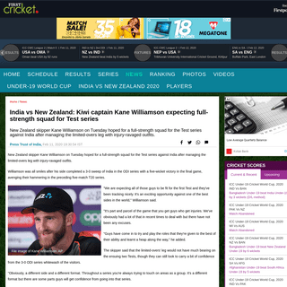 India vs New Zealand- Kiwi captain Kane Williamson expecting full-strength squad for Test series- Firstcricket News, Firstpost