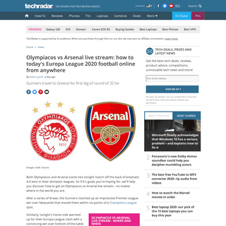 ArchiveBay.com - www.techradar.com/news/olympiacos-vs-arsenal-live-stream-how-to-todays-europa-league-2020-football-online-from-anywhere - Olympiacos vs Arsenal live stream- how to watch Europa League football online from anywhere - TechRadar