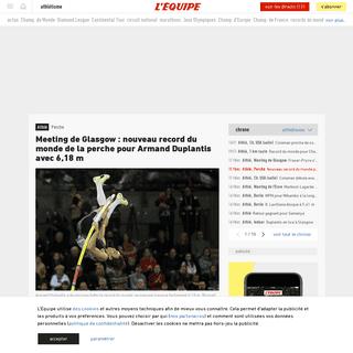 Meeting de Glasgow- nouveau record du monde de la perche pour Armand Duplantis avec 6,18m - Athlé - Perche - L'Équipe