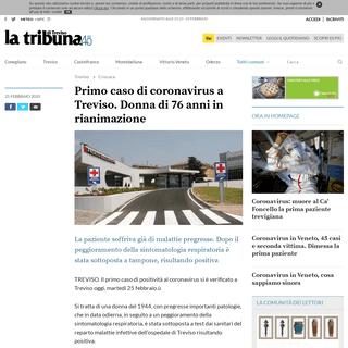 Primo caso di coronavirus a Treviso. Donna di 76 anni in rianimazione - Tribuna di Treviso Treviso
