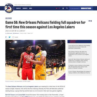 ArchiveBay.com - www.thebirdwrites.com/2020/2/25/21152432/new-orleans-pelicans-los-angeles-lakers-gamethread-zion-williamson-lonzo-lebron-davis-ingram-redick - Game 58- New Orleans Pelicans fielding full squadron for first time this season against Los Angeles Lakers - The Bird Writes