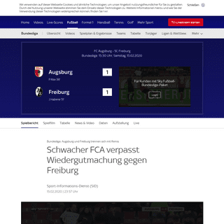 ArchiveBay.com - sport.sky.de/fussball/augsburg-vs-freiburg/spielbericht/412926 - Spielbericht - Augsburg - Freiburg - 15.02.2020