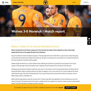 Wolves 3-0 Norwich - Match report - Wolverhampton Wanderers FC