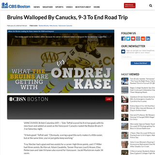 Bruins Walloped By Canucks, 9-3 To End Road Trip – CBS Boston