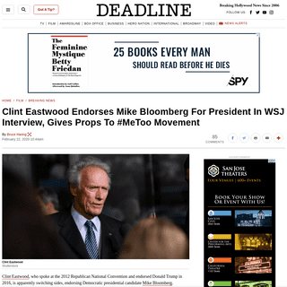 ArchiveBay.com - deadline.com/2020/02/clint-eastwood-endorses-mike-bloomberg-for-president-wsj-1202866163/ - Clint Eastwood Endorses Mike BloombergAnd #MeToo Movement – Deadline