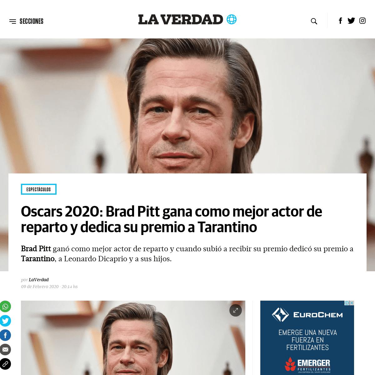 Oscars 2020- Brad Pitt gana como mejor actor de reparto y dedica su premio a Tarantino - La Verdad Noticias