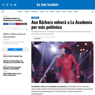 Ana Bárbara volverá a La Academia por más polémica - El Dictamen