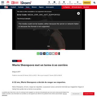 Maria Sharapova met un terme à sa carrière - DH Les Sports+