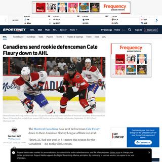 Canadiens send rookie defenceman Cale Fleury down to AHL - Sportsnet.ca