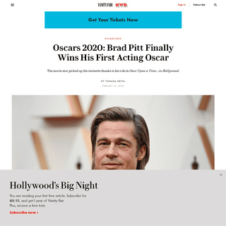 Oscars 2020- Brad Pitt Finally Wins His First Acting Oscar - Vanity Fair