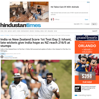 India vs New Zealand Score 1st Test Day 2-Ishant, late wickets give India hope as NZ reach 216-5 at stumps - cricket - Hindus