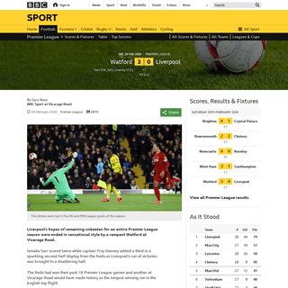 ArchiveBay.com - www.bbc.co.uk/sport/football/51595064 - Watford 3-0 Liverpool- Jurgen Klopp's side lose first Premier League game of the season - BBC Sport