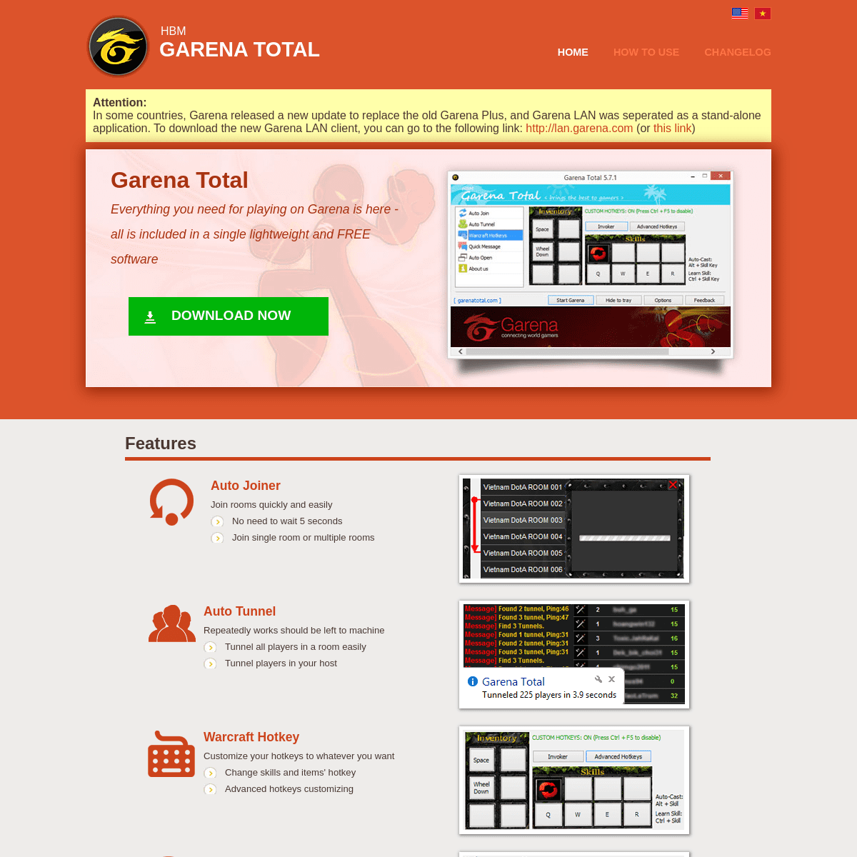 Garena Total - Auto Joiner + Auto Tunnel + Warcraft Hotkeys + Quick Chat + ...