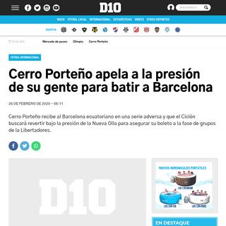 Cerro Porteño apela a la presión de su gente para batir a Barcelona - Copa Libertadores, Cerro Porteño, Barcelona de Guayaqui