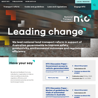 NTC homepage - National Transport Commission