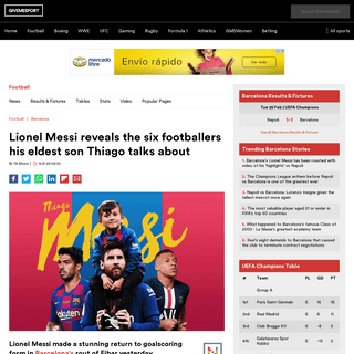 Lionel Messi reveals the six footballers his eldest son Thiago talks about - GiveMeSport