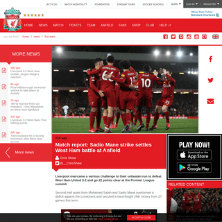 ArchiveBay.com - www.liverpoolfc.com/news/first-team/388018-match-report-west-ham-united-premier-league - Match report- Sadio Mane strike settles West Ham battle at Anfield - Liverpool FC