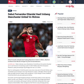 Debut Fernandes Ditandai Hasil Imbang Manchester United Vs Wolves - ANTVKLIK
