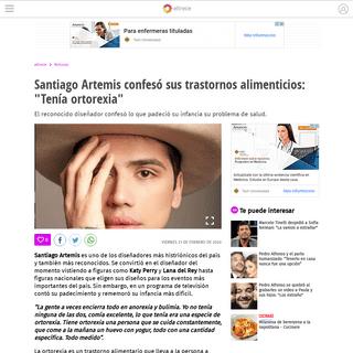 Santiago Artemis confesó sus trastornos alimenticios- -Tenía ortorexia- - eltrece
