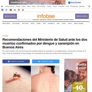 Recomendaciones del Ministerio de Salud ante los dos muertos confirmados por dengue y sarampión en Buenos Aires - Infobae
