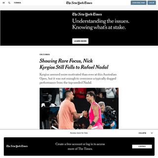 Showing Rare Focus, Nick Kyrgios Still Falls to Rafael Nadal - The New York Times