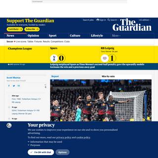 ArchiveBay.com - www.theguardian.com/football/live/2020/feb/19/tottenham-v-rb-leipzig-champions-league-last-16-live - Tottenham 0-1 RB Leipzig- Champions League last 16 – as it happened - Football - The Guardian