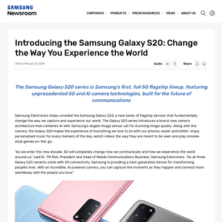 Introducing the Samsung Galaxy S20- Change the Way You Experience the World – Samsung Global Newsroom