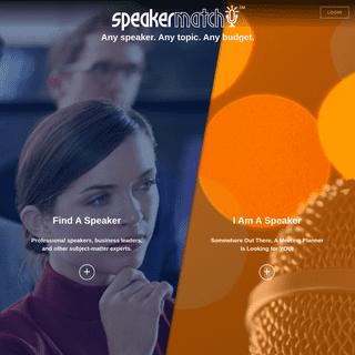 SpeakerMatch - Any Topic, Any Speaker, Any Budget!