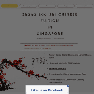 Zhang Lao Shi Chinese Tuition - Experienced Chinese Tutor - Singapore